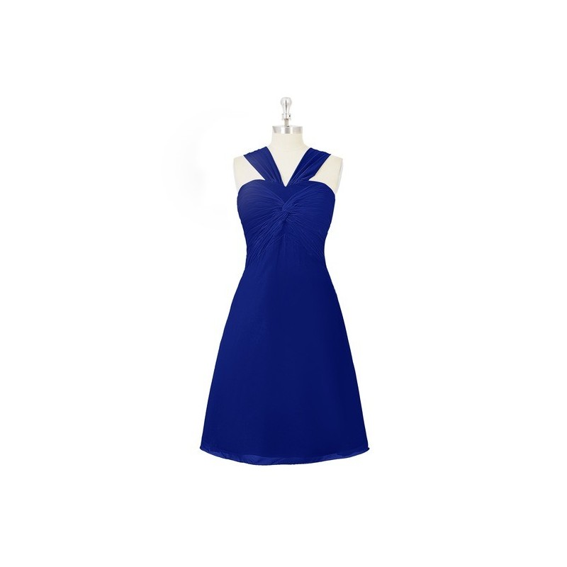 Royal_blue Azazie Mariana - Knee Length Chiffon V Neck Bow/Tie Back Dress - Charming Bridesmaids Store