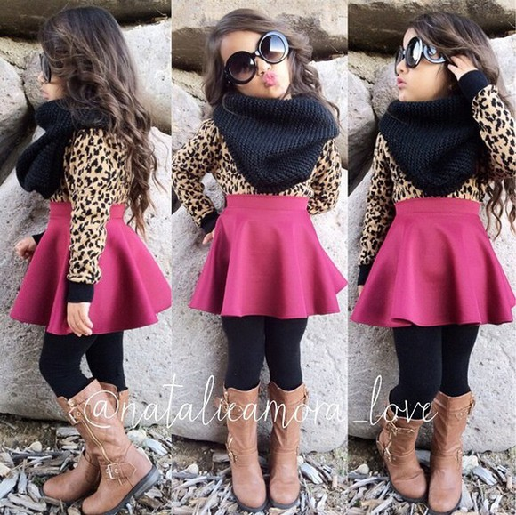 combat boots fashion girl girly leopard print leopard print shirt skirt skater skirt scarf infinity scarf sunglasses Fashion kids kids fashion