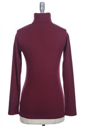 Classic versatility long sleeve turtleneck solid top in burgundy
