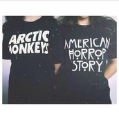 t-shirt,black,white,black and white,quote on it,black t-shirt,black and white t-shirt,arctic monkeys,american horror story,band t-shirt,shirt,top