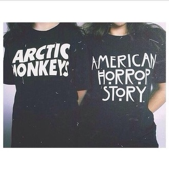 t-shirt black white black and white quote on it black t-shirt black and white t-shirt arctic monkeys american horror story band t-shirt shirt top