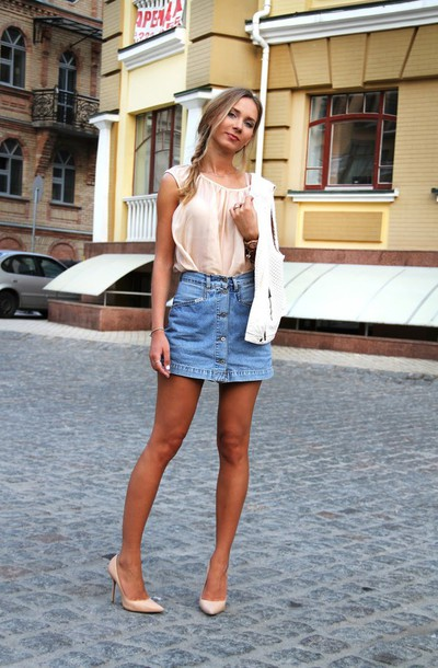 Jewels: dream love shop, blogger, denim skirt, button up skirt ...