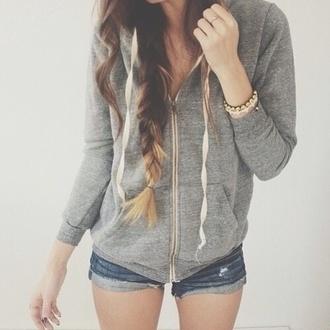 jacket grey hoodie white hair ombre comfy comfysweater hoodie american apparel girly beautiful