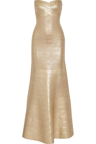 gown strapless metallic bandage gold dress