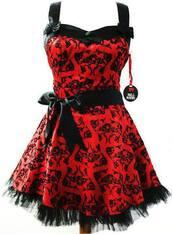 dress,alternative,emo,punk,red,cute,bow