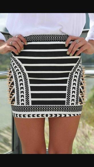 skirt striped skirt spikes and studs bodycon skirt