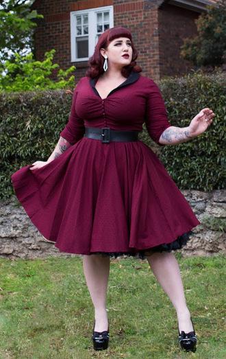 curvestokill blogger dress jewels shoes retro dress 50s style burgundy dress plus size dress vintage dress