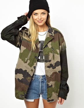 Poor Boy | Poorboy Camo Jacket With Dip Dye Sleeve at ASOS