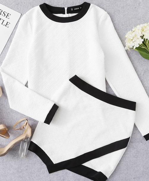 dress girly two-piece two piece dress set white black matching set skirt