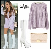 cardigan,ariana grande,girl,style,dress,ariana grande dress,shorts,shoes,sweater,bag