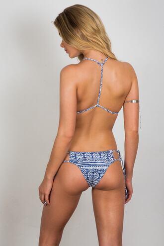 swimwear tie sides bikini bottoms blue cheeky soah