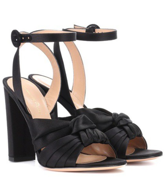 sandals satin black shoes
