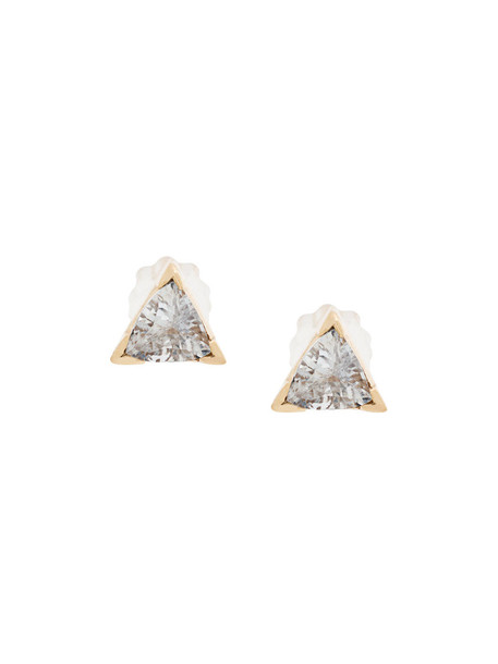 women earrings gold grey metallic jewels