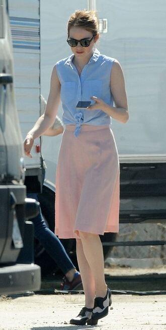 shirt emma stone flats midi skirt