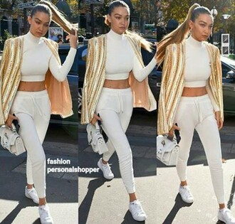 pants gigi hadid h&m balmain similar similar lower cost white outfit gold sequins jacket sporty chic jogging joggers