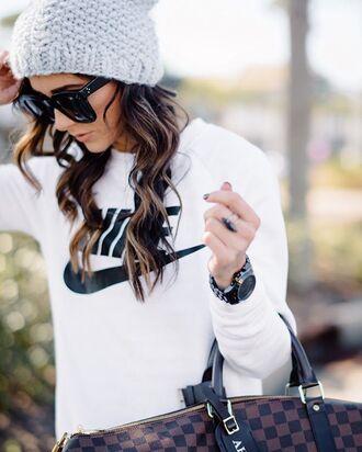sunglasses tumblr black sunglasses hat grey beanie beanie brunette black watch watch top nike nike top sweatshirt