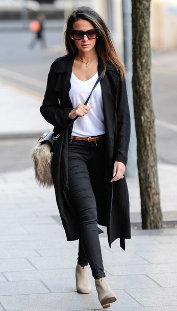 shoes suede boots coat t-shirt skinny jeans michelle keegan