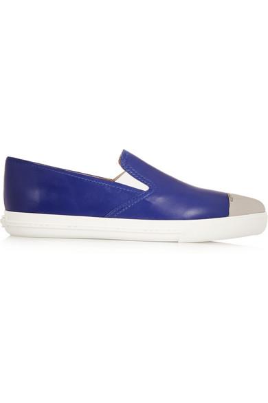 Miu Miu | Leather point-toe slip-on sneakers | NET-A-PORTER.COM