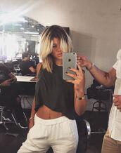 top,pants,sofia richie,crop tops,instagram,hairstyles,hailey baldwin
