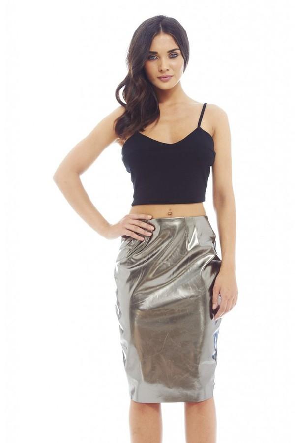 pewter skirt pewter midi midi skirt back zip skirt www.ustrendy.com