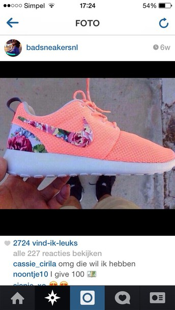 huge discount fe44c e886f shoes nike roshes floral coral and floral nike peach nikes nike roshe run  cute sneakers roshes