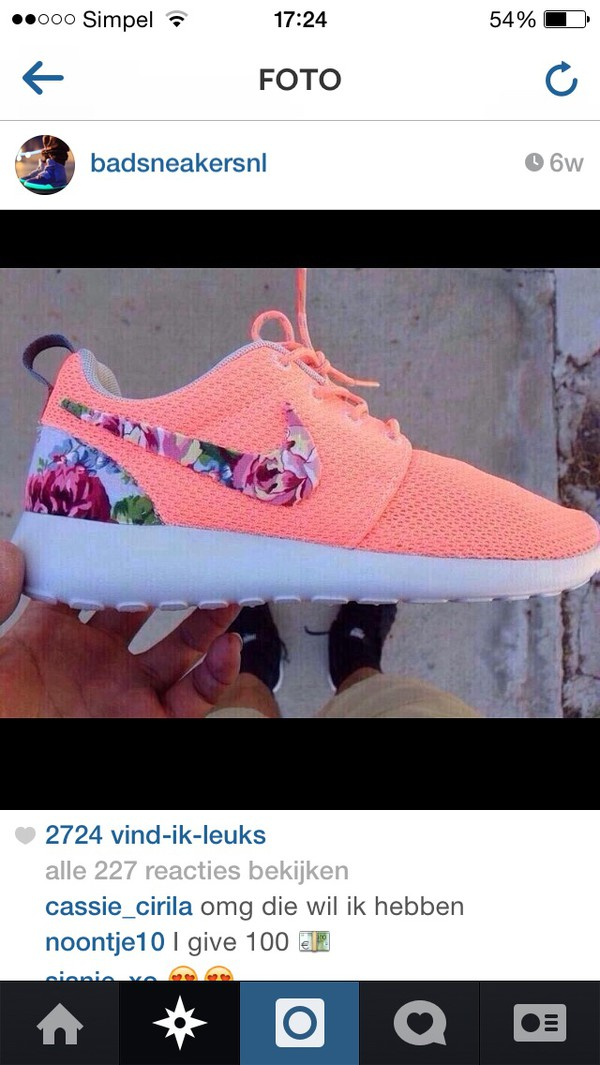 shoes nike roshes floral