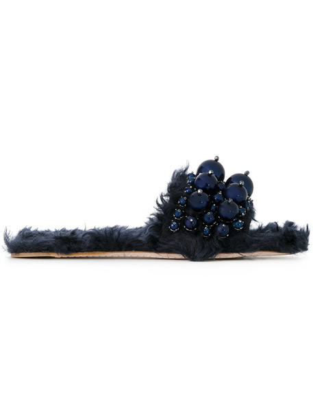 Miu Miu fur faux fur women embellished mohair sandals leather cotton blue shoes