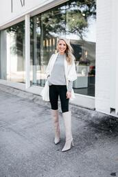krystal schlegel,blogger,leggings,shoes,knee high boots,white boots,fall outfits