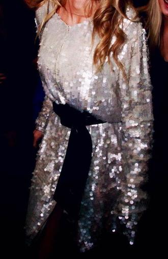 dress sequin dress long sleeve dress sequins long sleeves silver sequins white sequin dress baggy dress