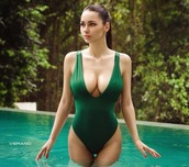 swimwear,green scoop one piece russian model