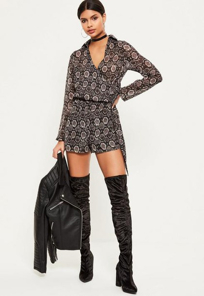 Missguided Grey Snake Print Wrap Front Shirt Romper