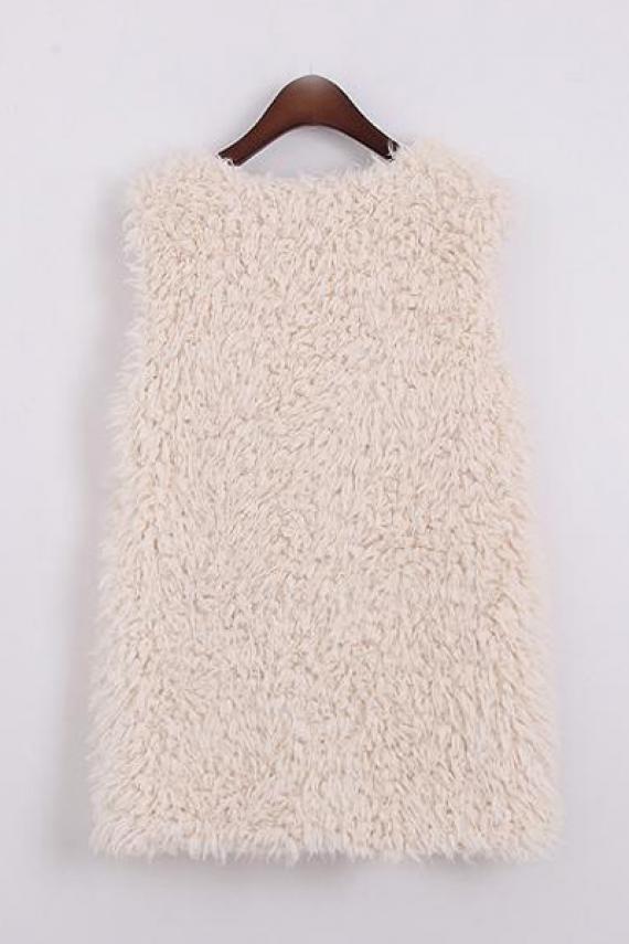 Neck sleeveless lamb wool gilet