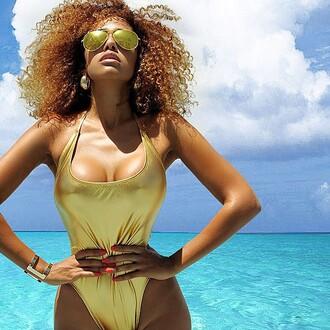 swimwear sunglasses metallic swimsuit metallic one-piece one piece swimsuit metallic gold bracelets cuff bracelet gold jewelry jewels jewelry earrings
