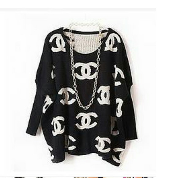 black and white logo chanel sweater designer