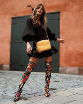 dress,tumblr,black dress,mini dress,puffed sleeves,boots,floral,floral boots,over the knee,bag,yellow bag