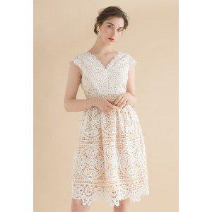 Moonlit Night V-Neck Midi Dress