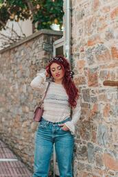 nothinglikefashion,blogger,blouse,jeans,bag,shoes,lace top,shoulder bag,spring outfits