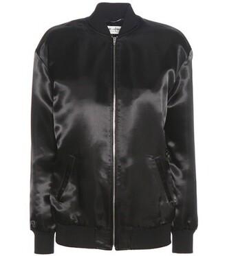 jacket bomber jacket satin bomber embellished satin black
