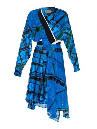 dress print silk velvet grid blue
