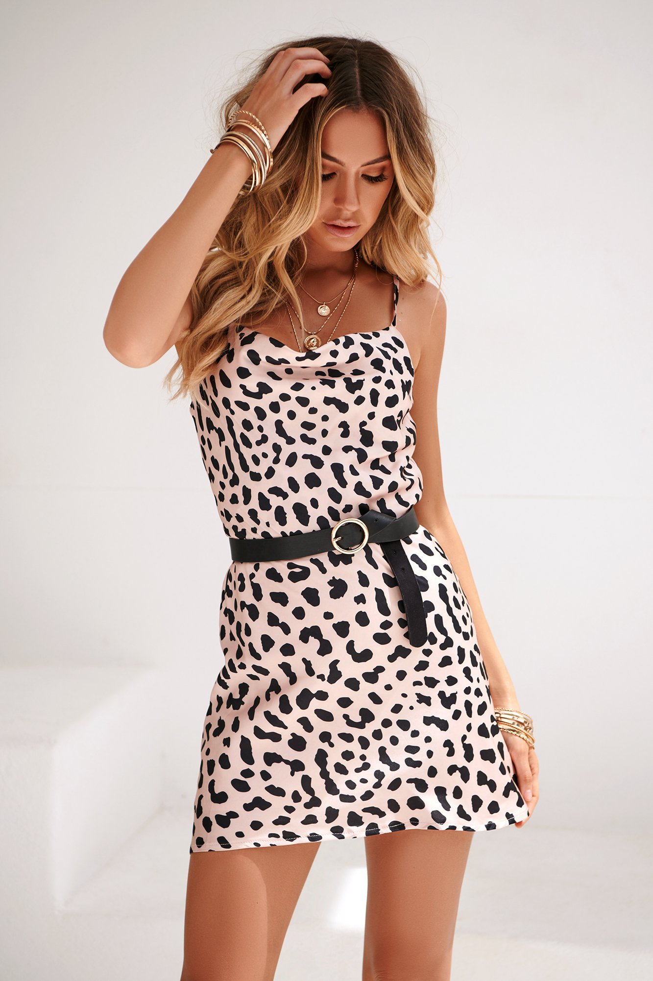 Meant To Be Mini Dress (Nude/Black)