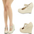 Nude Dual Mary Jane T Strap High Heel Platform Wedge Women Pump Sandal Shoe Sz10 | eBay