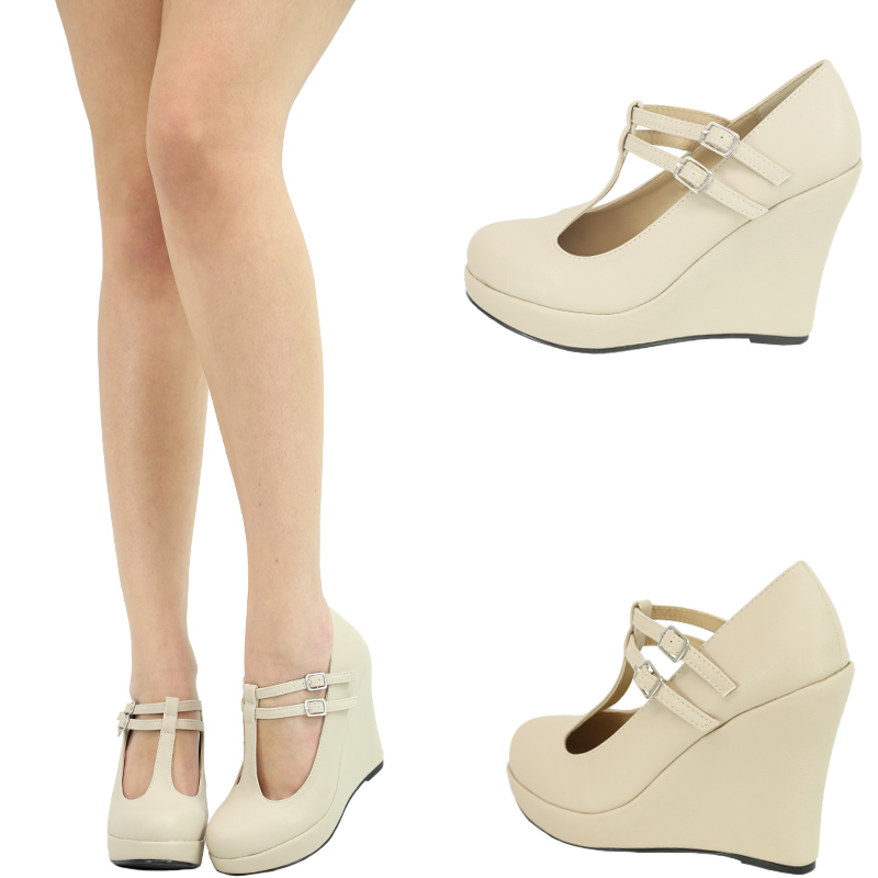 Nude Dual Mary Jane T Strap High Heel Platform Wedge Women Pump Sandal Shoe Sz10 | eBay