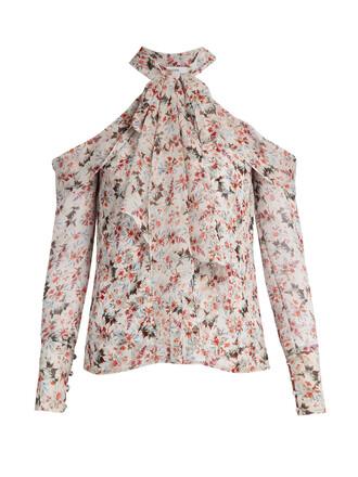 blouse floral print silk top