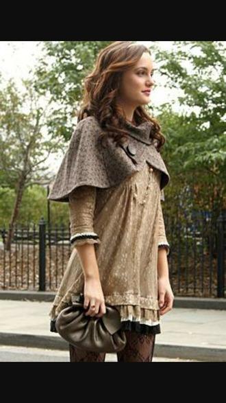 dress beige dress gossip girl blair dress leighton meester hairstyles summer dress