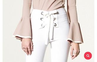 pants white lace up white pants denim lace