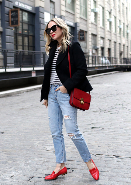 shoes tumblr loafers red loafers red shoes flats denim jeans blue jeans ripped jeans blazer black blazer bag red bag top stripes striped top sunglasses