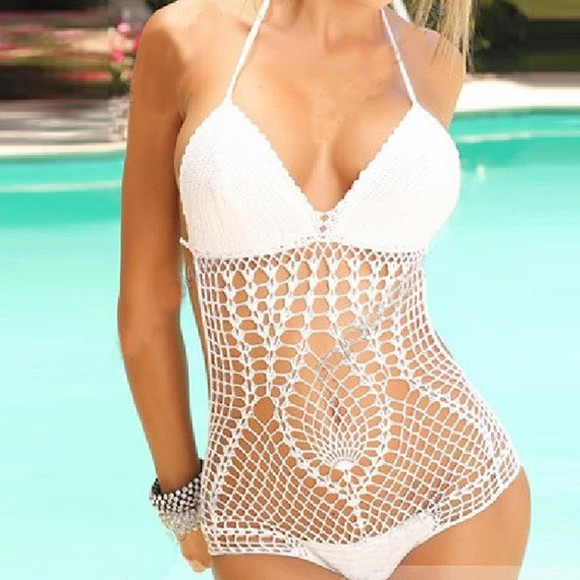 swimwear bikini white swimwear crochet pool pool side crochet bikini crochet bikini top
