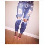 jeans,shoes,cute,denim,ripped jeans,glamzelle,boyfriend jeans