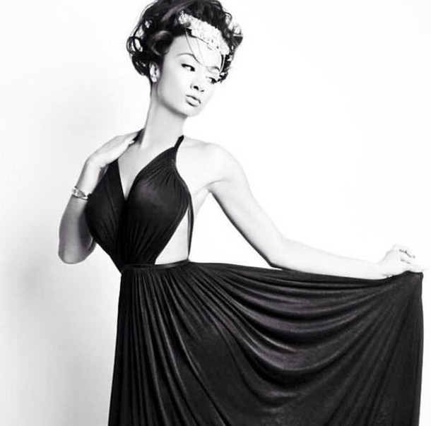 dress headpiece draya michele style cute sodraya cut out maxi dress black and white cut out sides dress cut out back dress cut-out she so pretty flowy dress flowy i love her photoshoot gorgeous gorgeous dress ball gown dress prom dress formal event outfit prom gown evening dress homecoming dress graduation dress luncheon event dresses event dress