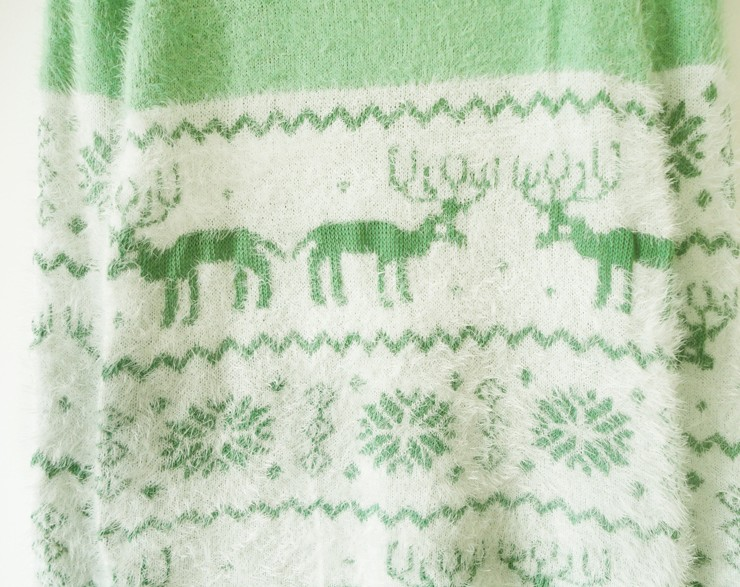 Mint Green Long Sleeve Deer Snowflake Fluffy Sweater